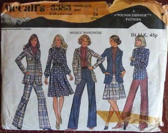 Vintage 1970s McCall's 3383 Blouse, Skirt, Trousers and Jacket Sewing Pattern - Size 12
