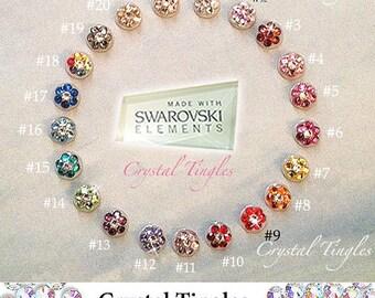Bling Sparkle Flower Swarovski Elements Crystal Diamond Peel Pop Up Sticker Apple iPhone Home Button 8 7 6S Plus SE 5S 5C