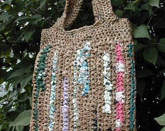 Market Tote / Large Brown Plarn Bag / Upcycled Materials / Vegan Shopping Tote