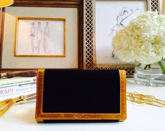 Black Fabric Wallet//Tan Leather Wallet//Anniversary Gift//Slim Wallet//Gift for Her//Travel Wallet Clutch