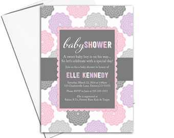 digital baby shower invitations for a girl, flower baby shower invites, pink gray purple baby shower, printable or printed - WLP00776