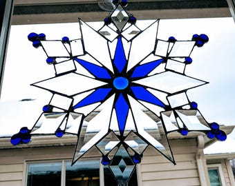 Blue Stained Glass Hanging Snowflake