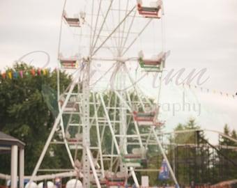 Film Ferris Wheel Digital Photography Backdrop Background Blurred Ride Carnival Fair Red White Blue