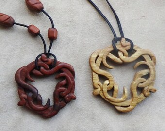 Snake jewelry snake pendant snake necklace serpent reptile wooden hand carved witchcraft witch ritual occult jewelry snake totem occultism