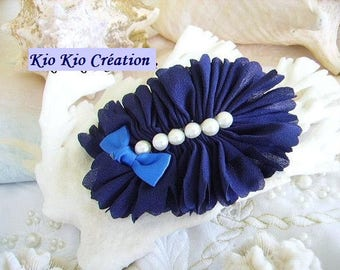 Hair accessories fashion, big bow, Navy Blue, fabric flower, resin cabochon Pearl White, satinbarette silver bow.