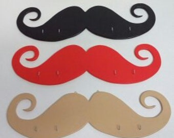 Wooden hangers mustache wall decor gift personalized