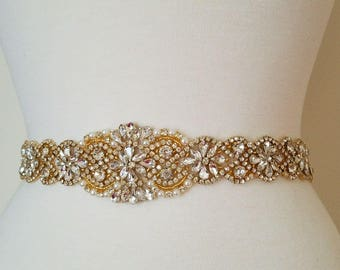 Wedding Bridal Sash Belt, GOLD CRYSTAL PEARL Wedding Sash Belt