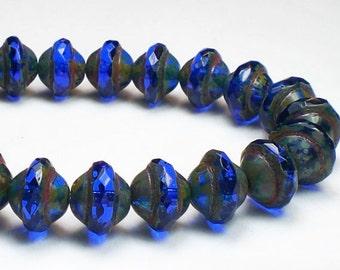 UFO Czech Glass Beads Sapphire Cobalt Blue 8x10mm 10 Pcs. UFO-110