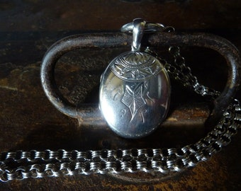 antique sterling silver book chain collar necklace victorian large ring clasp victorian sterling locket/ antique sterling muff chain/albert