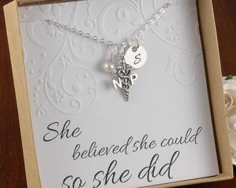 NP Nurse Practitioner Necklace - Sterling Silver Initial Charm, Pearl or Birthstone