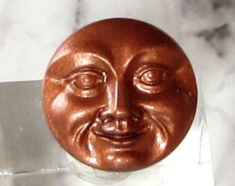 Tschechische Glas-Taste, Mond, Gesicht, Matt Kupfer, 15mm, mit Anhänger-Konverter C582