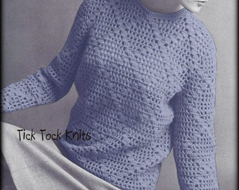 No.619 Women's Vintage Crochet Pattern PDF - Lattice Pullover Sweater - 1970's Retro Crochet Pattern