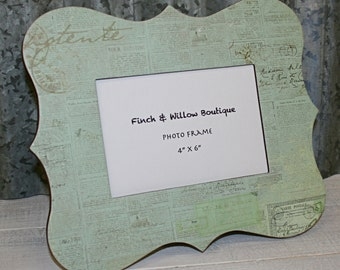 Shabby Chic Picture Frame, Light Green Picture Frame, Vintage look Picture frame, 4 x 6 Photo frame