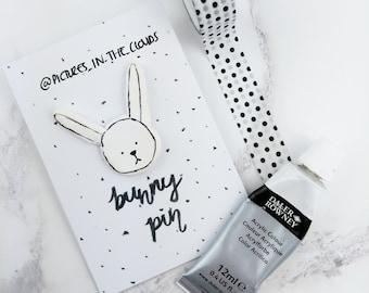 White bunny rabbit pin brooch badge