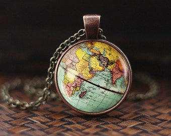 World Map Globe Necklace, Earth Necklace, Globe Necklace, Map Jewelry, vintage globe world travel adventurer gift, Antique Map Necklace