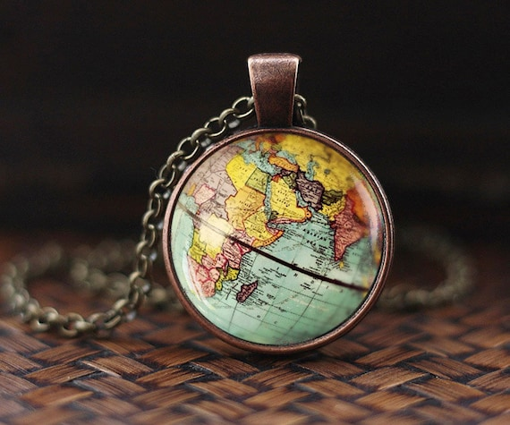 World map globe necklace earth necklace globe necklace map gumiabroncs Images
