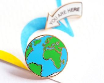 You Are Here, Enamel Pin Badges, Earth Pin, Lapel Pins, Earth Pin Badge Set, RockCakes, Brighton, uk