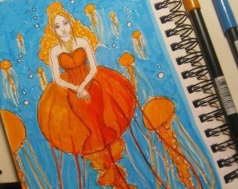 Jellyfish Mermaid Art Print Atlantic Sea Nettle 5x7 8x10