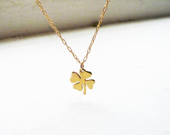 Tiny Four Leaf Clover Necklace in Gold Filled and Golden Brass - Sweet and Simple Shamrock for Good Luck