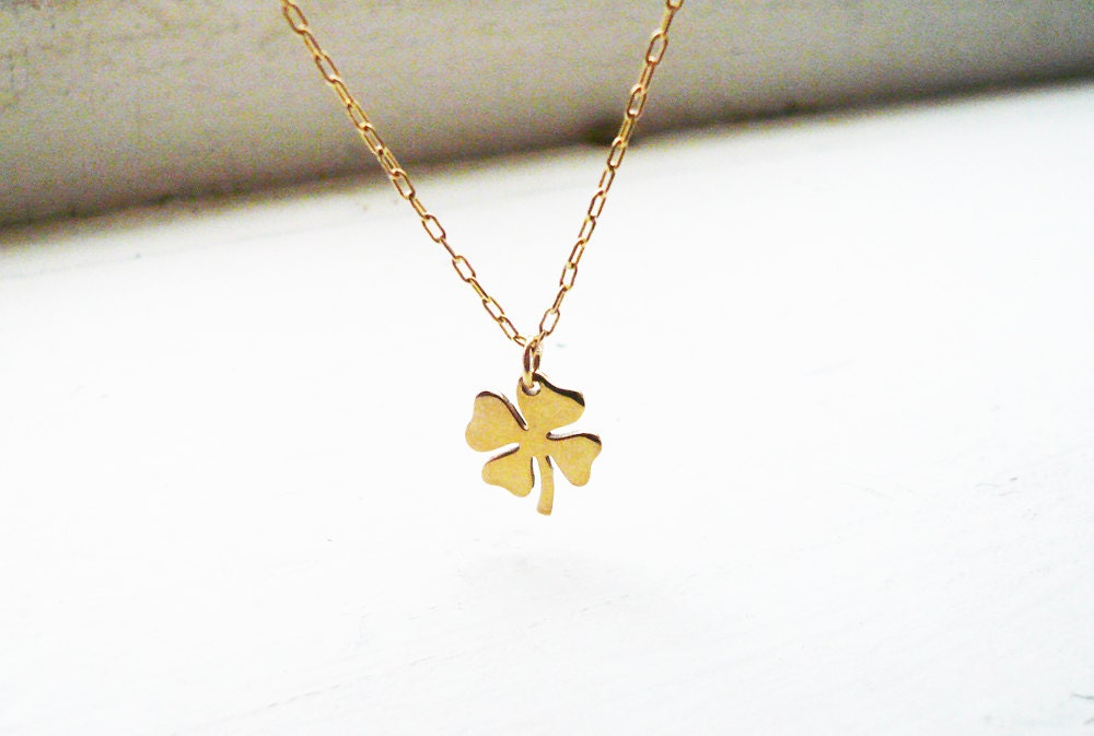 Tiny four leaf clover necklace in gold filled and golden brass zoom aloadofball Gallery