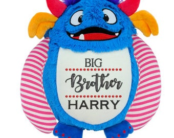 Cubbie Monster, Monster Plush, Personlized Monster, Big Brother, Little Brother, Stuffed Monster, Stuffed Animal, Embroidered Plush,