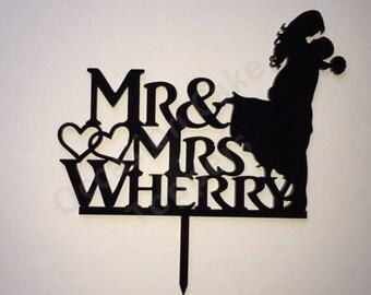 Personalised Wedding Cake Topper - Mr & Mrs Surname - Romantic Bride and Groom Silhouette - Black