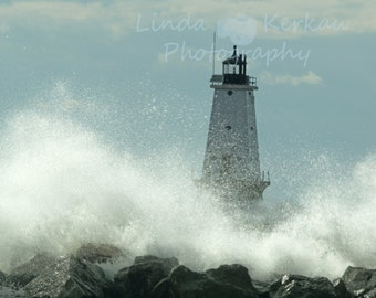 Wave Action at Lighthouse in Ludington Michigan