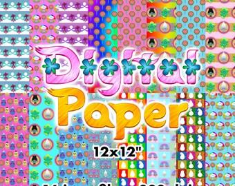 Trolls - Digital Paper - 16 jpeg files 12x12 inches 300 dpi - Trolls Movie