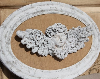 Cherub, Cherub Angel, Mediterranea Design Studio, distressed Cherub Decor, Angel Wall Decor, Cottage Chic Decor, Shabby Chic Decor