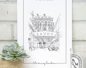 Personalised Savoy London Print  - Savoy Wedding - Hand Drawn Savoy London Illustration  - Savoy London Wall Art - Savoy Anniversary