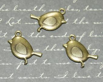 3 charms bird bronze 19x20mm