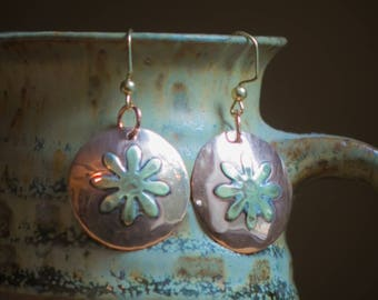 Hammered Round Copper Discus with Brass Daisy Earrings. Free US Shipping. Handmade.