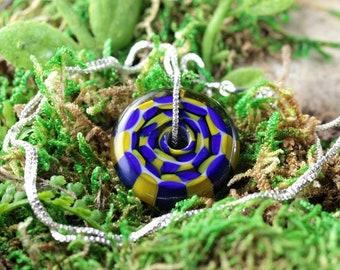 Handmade Lampwork Focal Bead Pendant // Borosilicate /Boro Glass // Blue and Yellow Checkered // Sterling Silver Chain // Z162
