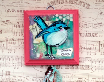 Mixed Media Wall Hanging Tweet  Bird
