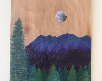 Moonlit Mountain Painting