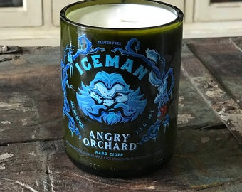 Scented Soy Candle, Upcycled Bomber Bottle, Recycled Craft Beer Bottle, Angry Orchard Hard Cider