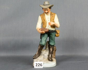 Western farmer figurine Panning for gold, hat, Belt Bullets Six shooter Leather vest Blue eyes Mustache Made in Taiwan