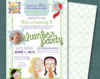 PRINTABLE Slumber Spa Party Invitation WITH PHOTO, 5x7American Girl green and purple
