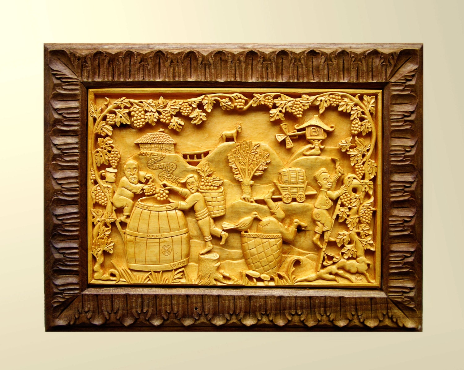 Wood carving Vine harvest wood wall art wood