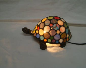 """3.5""""H Stained Glass Spotted Turtle Tortoise Accent Lamp Night Light TV Lamp"""