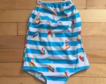 Vintage 1980s Girls Blue Striped Nautical Sailboat Swimsuit Bathing Suit! Size 6