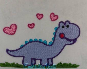 Purple Dinosaur Embroidery Design, Multiple Formets