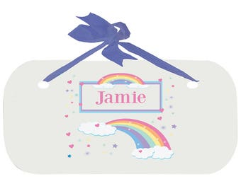 Personalized Boys Door Sign with Pastel Rainbow Design WPLAQ-blu-235b
