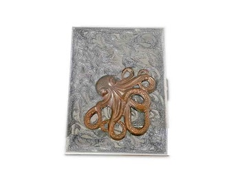 Metal Cigarette CaseOxidized Brass Octopus Inlaid in Hand Painted Glossy Metallic Silver Enamel Neo Victorian Accessory