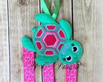 Turtle Bow Holder Sea Turtle Clippie Keeper Embroidery File