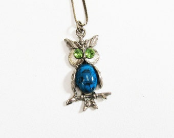 Vintage Owl Necklace, Silver Blue Owl Necklace, Vintage Owl Pendant, Owl with Green Eyes, Retro Owl Jewellery, Gifts for Her, Gifts under 25