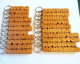 20 CUSTOM NAME SPECIAL, Bulk Wood Name Keychains, Standard Size, Carved to Order, Free U.S. Shipping