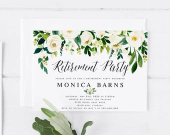 white floral retirement party invitation template printable farewell party invitation template send off party greenery retirement