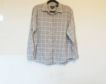Brown and Blue Plaid Flannel Shirt Vintage Oversize Flannel Button Up Pastel Blue Pale Brown Checkered Lumberjack Shirt Vintage Flannel