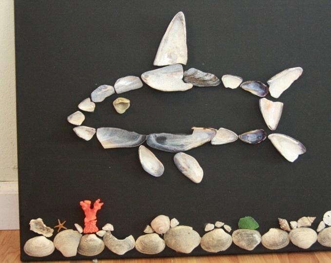 Black Canvas Silver and Blue Shark in Underwater Reef Shell Scene Coastal Beach Wall Art